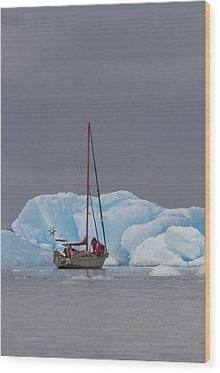 Sail Boat In Laguna San Rafael, Laguna Wood Print by Peter Langer