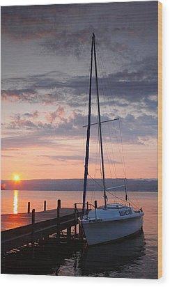 Sailboat And Lake II Wood Print by Steven Ainsworth