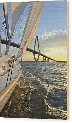 Sailing On The Charleston Harbor During Sunset Wood Print by Dustin K Ryan