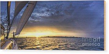 Sailing Sunset Charleston Sc Wood Print by Dustin K Ryan