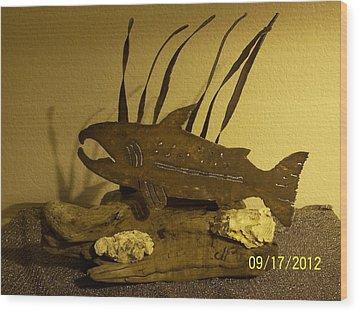 Salmon On Driftwood Wood Print by JP Giarde