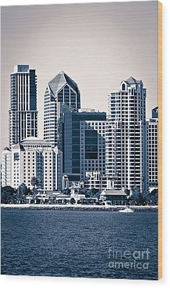 San Diego Skyline Wood Print by Paul Velgos