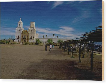 Wood Print featuring the photograph San Xavier Del Bac Mission by Tom Singleton