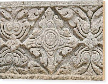Sandstone Carving  Wood Print by Kanoksak Detboon