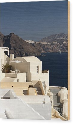 Santorini View Wood Print by Leslie Leda