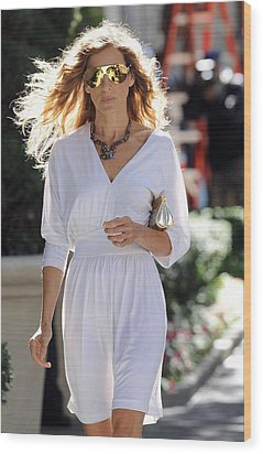 Sarah Jessica Parker Wearing A Halston Wood Print by Everett