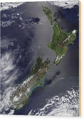 Satellite View Of New Zealand Wood Print by Stocktrek Images