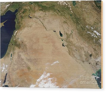 Satellite View Of The Middle East Wood Print by Stocktrek Images