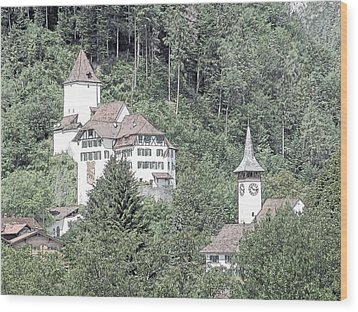 Schloss Wimmis And Church Switzerland Wood Print by Joseph Hendrix