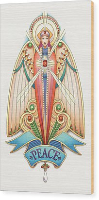Scroll Angels - Pax Wood Print by Amy S Turner