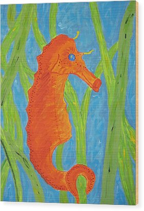 Wood Print featuring the painting Seahorse by Yshua The Painter