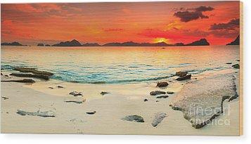 Seascape Panorama Wood Print by MotHaiBaPhoto Prints