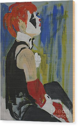 Seated Lady Clown Wood Print by Joanne Claxton