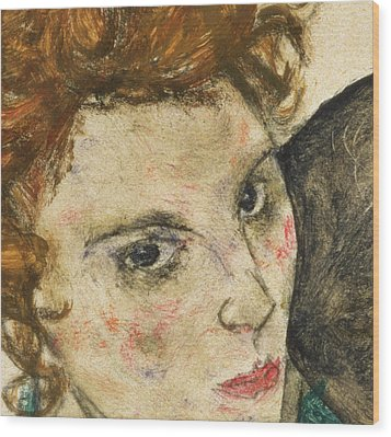 Seated Woman With Bent Knee Wood Print by Egon Schiele