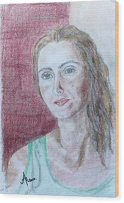 Wood Print featuring the drawing Self Portrait by Anna Ruzsan