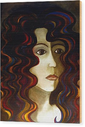 Wood Print featuring the painting She by Monica Furlow