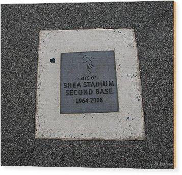 Shea Stadium Second Base Wood Print by Rob Hans