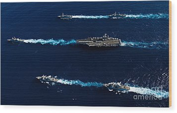 Ships From The John C. Stennis Carrier Wood Print by Stocktrek Images