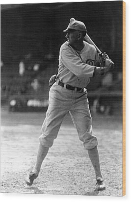 Shoeless Joe Jackson, Batting Practice Wood Print by Everett