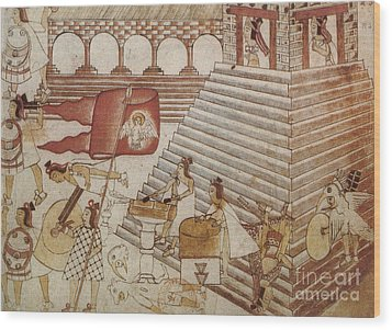 Siege Of Tenochtitlan 1521 Wood Print by Photo Researchers