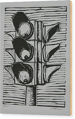 Wood Print featuring the drawing Signal by William Cauthern