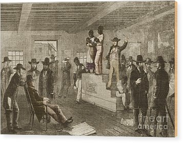 Slave Auction, 1861 Wood Print by Photo Researchers