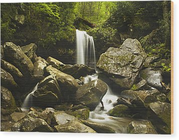 Smoky Mountain Waterfall Wood Print by Andrew Soundarajan