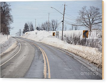 Snow By The Roadside Wood Print by Ted Kinsman