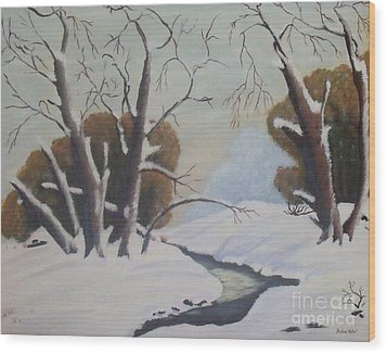Snow Wood Print by Debra Piro