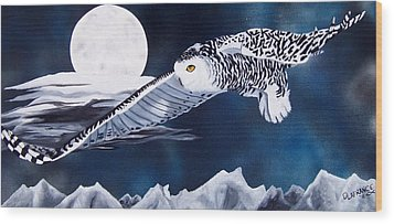 Snowy Flight Wood Print by Debbie LaFrance