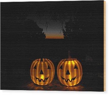 Solar Halloween Pumpkins Wood Print by Rebecca Cearley