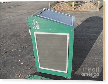 Solar Powered Trash Compactor Wood Print by Photo Researchers, Inc.