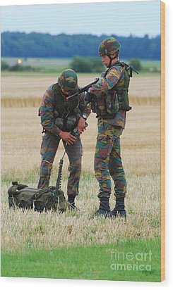 Soldiers Of The Belgian Army Wood Print by Luc De Jaeger