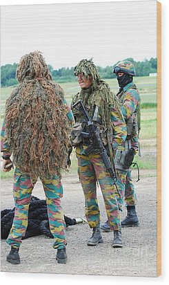 Soldiers Of The Special Forces Group Wood Print by Luc De Jaeger