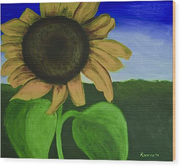 Solo Sunflower Wood Print by Roxanne Weber