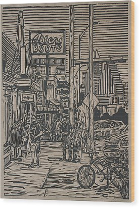 Wood Print featuring the drawing South Congress by William Cauthern