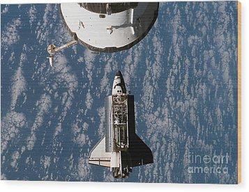 Space Shuttle Atlantis Approaching Wood Print by Stocktrek Images