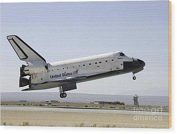 Space Shuttle Atlantis Prepares Wood Print by Stocktrek Images