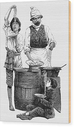 Spaghetti Vendor Wood Print by Granger