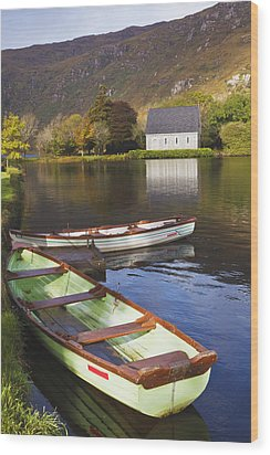 St. Finbarres Oratory And Rowing Boats Wood Print by Ken Welsh