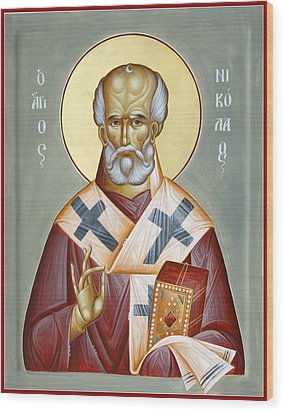 St Nicholas Of Myra Wood Print by Julia Bridget Hayes