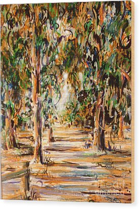 Wood Print featuring the painting Stanford Eucalyptus Grove by Dee Davis