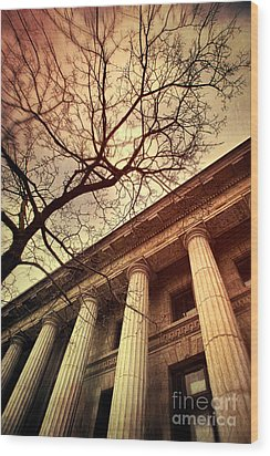 Stark Facade Of Justice Courthouse From Low Angel View  Wood Print by Sandra Cunningham