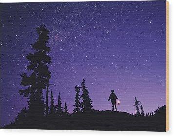 Starry Sky Wood Print by David Nunuk