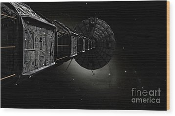Starship Inspired By The Novels Wood Print by Rhys Taylor