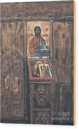 Wood Print featuring the painting Stavropoleos Church by Olimpia - Hinamatsuri Barbu
