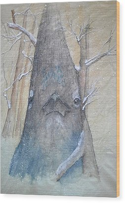 Stellar Jay From Front Wood Print by Debbi Saccomanno Chan