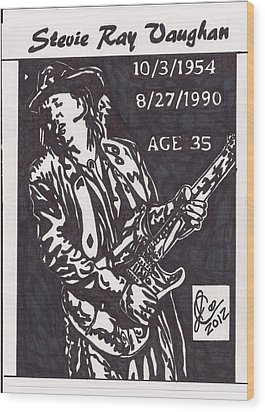 Wood Print featuring the drawing Stevie Ray Vaughn by Jeremiah Colley