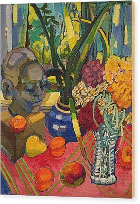 Still Life With Cut Glass Vase Wood Print