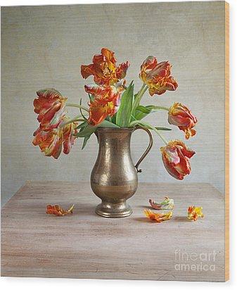 Still Life With Tulips Wood Print by Nailia Schwarz